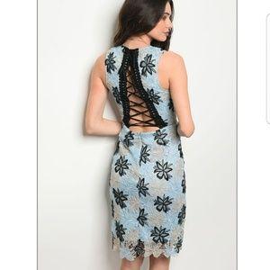 💦Light blue  black dress